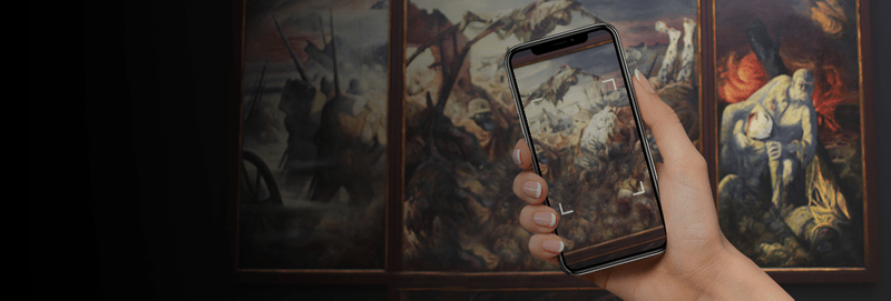 Footer banner with mobile augmented reality in museum