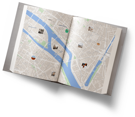 Open book with Wemap map