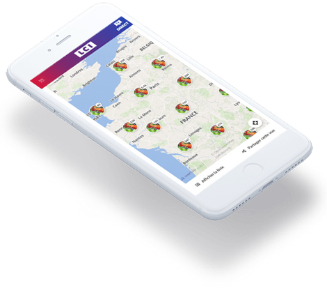 mobiles with Wemap map and pinpoints