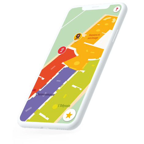 mobile with colorful indoor map