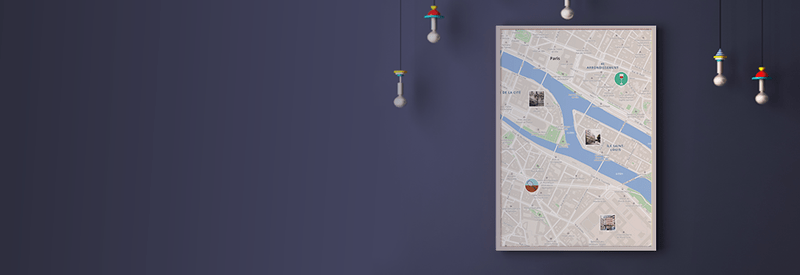 Footer banner with poster of Wemap map