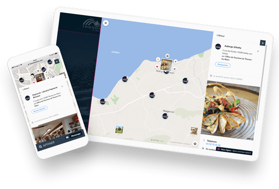 mobile and iPad view in detailed open pinpoint on Wemap map